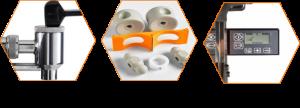 Robinet magnétique, lame en inox et écran digital de la machine à jus d'orange