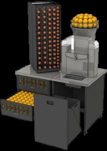 Machine presse jus d'orange professionnel meuble reversible 2 cotés de bouteilles